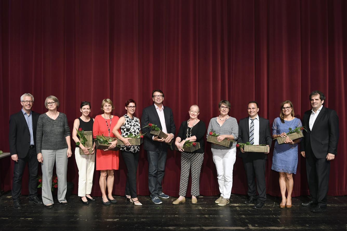 Freisprechungsfeier Leonberg 2017 Matthias Müller, Ingrid Schrem und Peter Kupczyk mit Lehrern